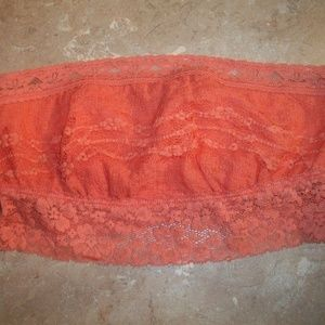 Intimately Free People Orange Lace Bandeau Bra XS